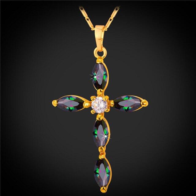 Luxury Cubic Zirconia Cross Necklace Christian Jewelry Women Gift