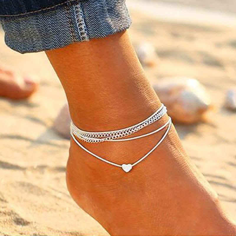 בוהמי כסף צבע צמיד צמיד על רגל אופנה לב נשי Anklets יחף לנשים רגל שרשרת חוף תכשיטי רגל