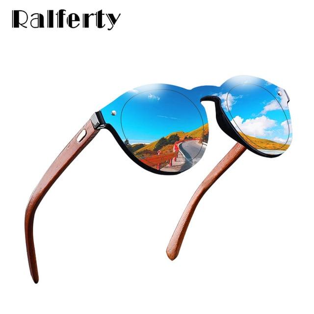 8c80fc39ad80 Ralferty Retro Wood Sunglasses Women Men 2018 Bamboo Blue Mirror Sun Glasses  UV400 Sport Eyewear Dropshipping NO LOGO 1582