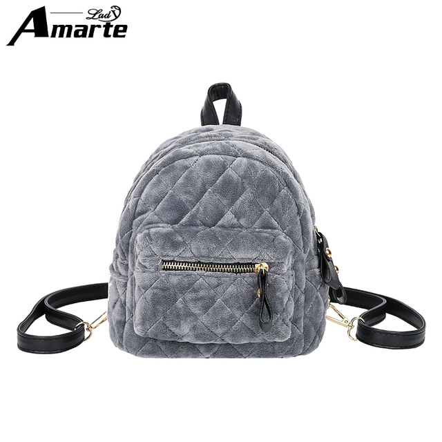 cd969d2b9d Amarte 2017 New Luxury Brand Women Velour Backpacks Small Backpacks for Girls  Fashion Casual Mini Backpack Daypacks Ladies Bags