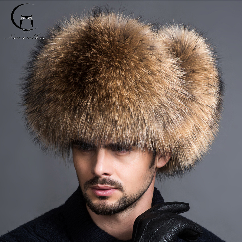 2018 NEW Natural Color Fur Hat Siberian Style Fur Hat Raccoon Full Ushanka Hat for middle-aged cotton cap Lei Feng hat fur contrast color men s cotton coat with hat