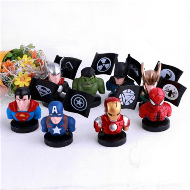 8 pçs/set Vingadores de Super-heróis Superman Batman Homem De Ferro Hulk Thor Loki Cabeça Retrato DO Homem-Aranha PVC Toy Action Figure 10 CM P749