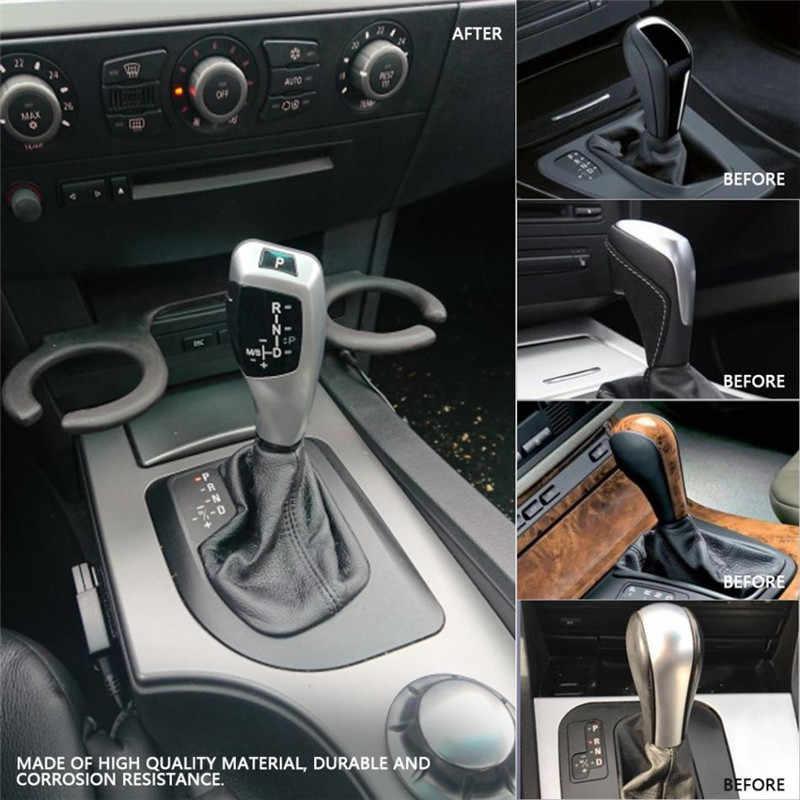 For BMW E60 E63 E46 2D 4D Car Gear Shift Knob LHD Automatic Leather Plastic LED Silver Shift Gear Knob 2004 Series 5 model 535
