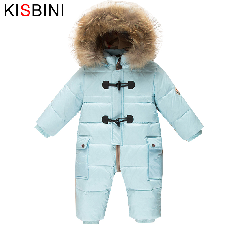 KISBINI Romper Kids Winter Baby Snowsuit 90 Duck Down Jacket Girls Coats Winter Park Boys Overalls Children Hood Newborn Infant