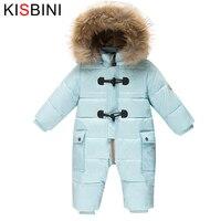 KISBINI Romper Kids Winter Baby Snowsuit 90 Duck Down Jacket Girls Coats Winter Park Boys Overalls