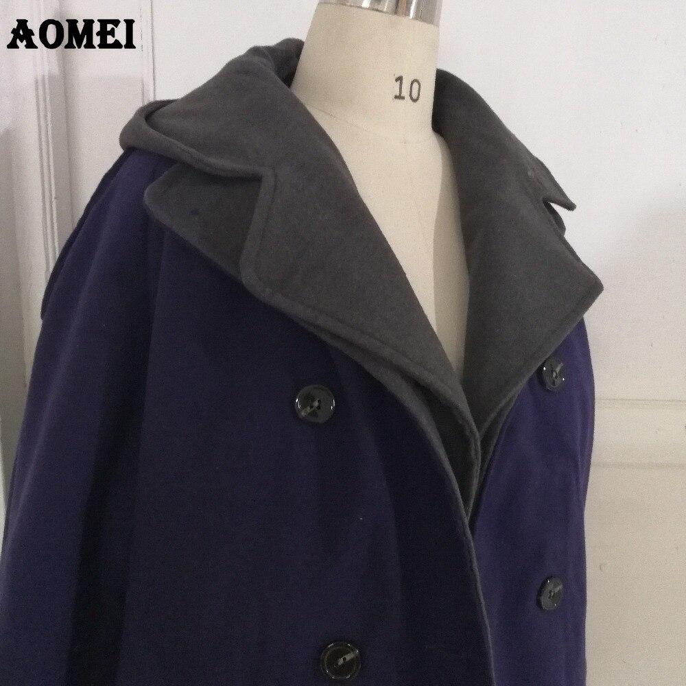 Женское повседневное модное шерстяное пальто темно-синего цвета, одежда для работы, Офисная Женская верхняя одежда, твид, новинка, осенне-весеннее пальто, накидка