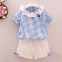 Child Clothing Summer Girls Baby Two Piece Cartoon Cotton Suit Lady Lace Princess Respective Round Neck