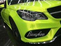 1,52x18 м Высокое качество Глянцевая Авто волшебный лимон зеленый винил обертывание для автомобиля