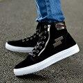 Masculina de alta calidad de ocio de alta plataforma zapatos de moda de los hombres de otoño e invierno de encaje con cordones y cremallera zapatos de hombre casual zapatos