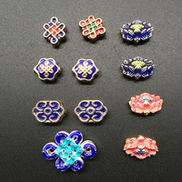 Wholesale 50 100 pcs Lotus Auspicious Clouds Hole Beads Buddha Cloisonne Spacer Bead Jewelry Making DIY Findings Z826