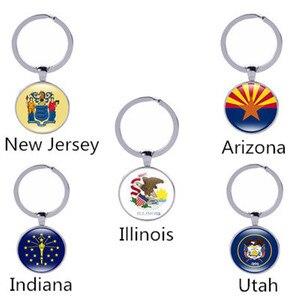 Американская карта Государственный Флаг Новый Кулон Нью Джерси, Аризона, Иллинойс, Индиана, Юта брелок для ключей «флаг» женские аксессуары