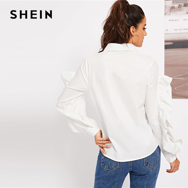 Manga Otoño Abotonada Mujer Con Volantes Trabajo Abierta Blanco Blusa De Ropa Sólido Elegante Para FpHBA5W1