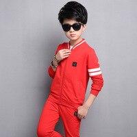 Kids Boys Spring Autumn 2 Pcs Set 2017 New Baby Boys Clothing Fashion Color Stripes Sports