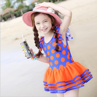 2016 New Export Children S Swimsuit Big Wave Point Princess Lace Dress Female Baby Girl One