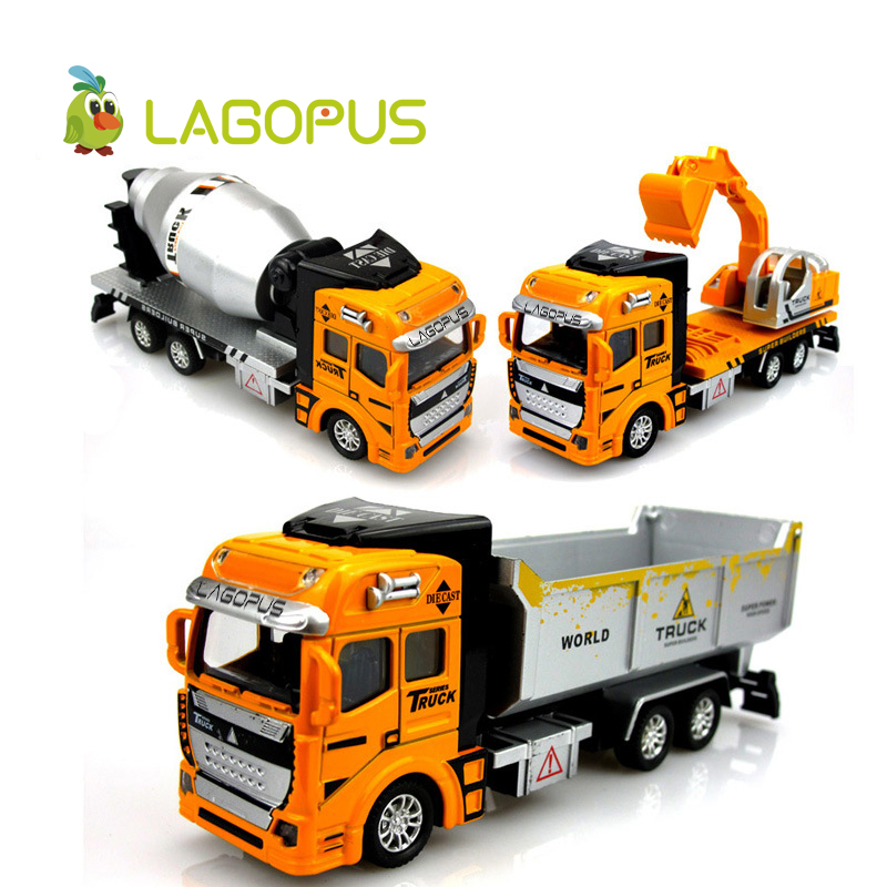 1:48 Miniature Model Trucks Toy Alloy Engineering Vehicles Tanker Dump Truck Garbage Car Excavator Toys Gift for Children