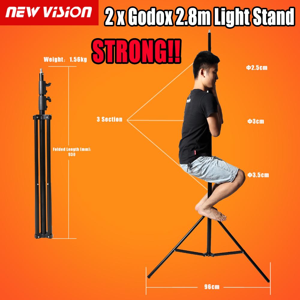 Prix pour Livraison dhl!! 2x godox 280 cm 9ft studio eclairage stand de lumière pour flash stroboscopique lumière continue