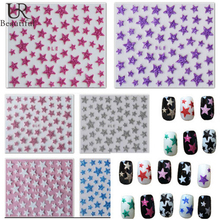 1 sheet Fashion 3d Shining Stars Nail Stickers Decals DIY UV Gel Polish Nail Tip Decoration for Beauty Nail Art BENC132