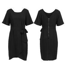 Women Formal Dress Short Sleeve Plain Colour Belt Summer Female Party Evening Beach Sundress