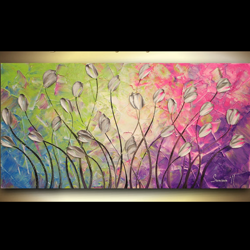 Us 46 0 Hand Painted Wall Art Abstract Silver Tulips On Pink Wall Decor Red Landscape Abstract Canvas Painting Contemporary Home Decor In Painting