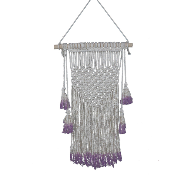 Hand knit Wall Hangings Purple Cotton Yarn Wall Tapestry Craft ...