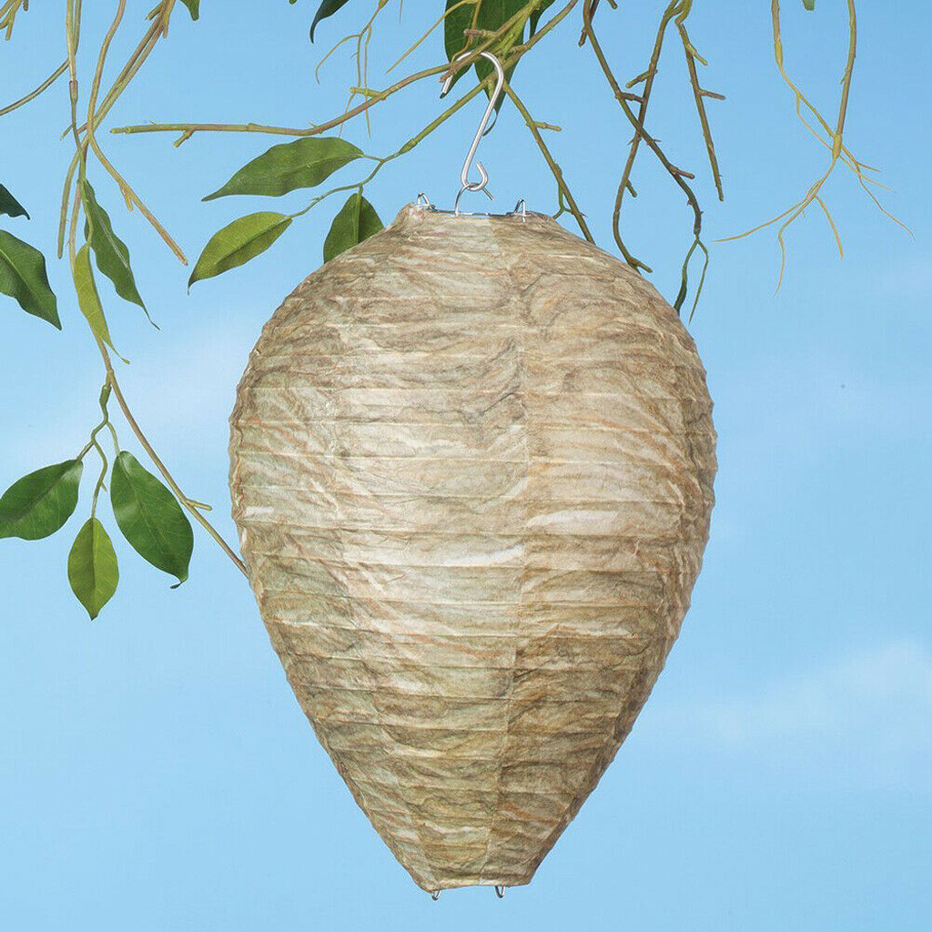2Pcs Wasp Deterrent Yellowjackets Bee Hornets Fake Wasp Nest Simulated Deterrent For Wasps Hornets Safe Non-Toxic