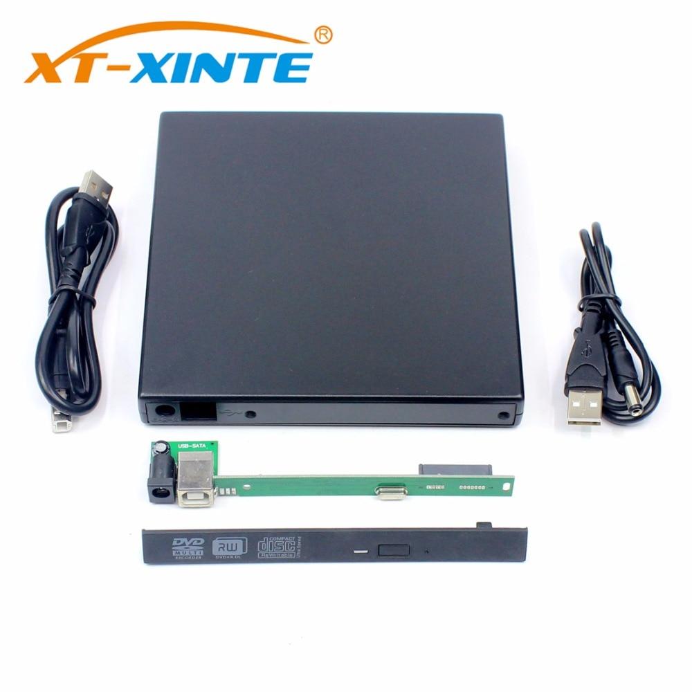 USB2.0 SATA Hard Disk Drive External Case 12.7MM HDD Enclosure Optical Drives Cases DVD-RW for WindowXP/2003/Vista/Win7/Linux