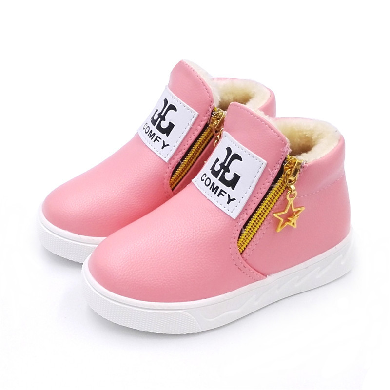 2019 Autumn Winter Children Cotton Boots Keep Warm Plush Boys Girls Snow Boots Kids Waterproof Leather Boots Toddler Ankle Boots