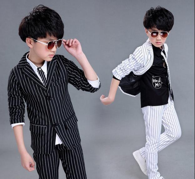 Новый костюм для мальчиков в английском стиле осенняя одежда полосатый комплект лиф на резинке + мини юбка детская одежда из двух предметов