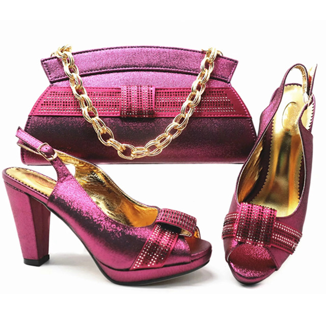New African Matching Shoes and Bags Italian In Women Nigerian Women Wedding Shoes and Bag Set High Quality Party Shoes and Bags