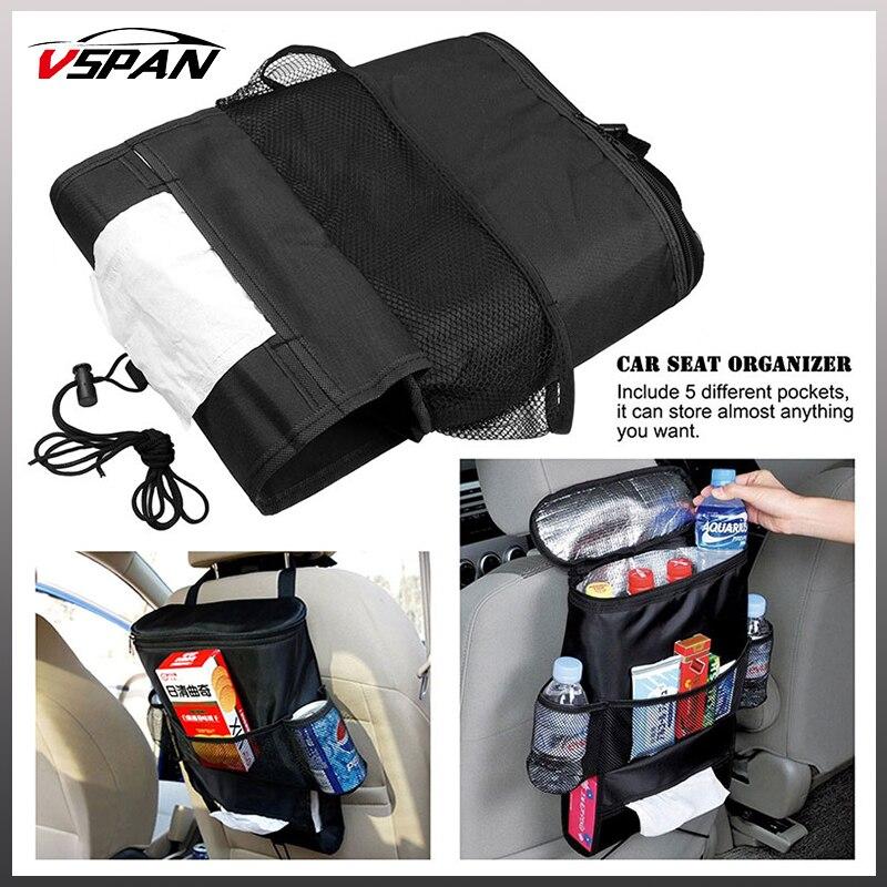 2pcs Car Seat Back Storage Bag Warmer Cooler Organizer Bag