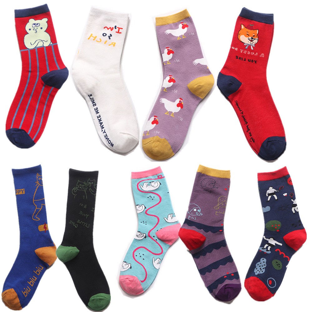 Fashion Cute Creative Chicken Embroidery Cotton Women Socks Top Quality Cartoon Funny Monster Socks Spring Summer Lovely Socks