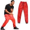 2016 hombres de Diseño Larga Recta Negro/Rojo PU de Cuero de Imitación Delgado Pantalón Hip Hop Casual Cremallera Abertura de La Pierna pantalones