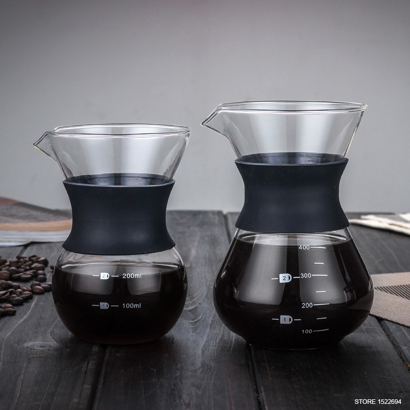 premium 200ml 400ml home coffee pot with filter quality cone filter coffeemaker pour over coffee. Black Bedroom Furniture Sets. Home Design Ideas