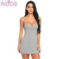 Avidlove Nightgown Women Lace Nightwear Backless Sleepwear Sexy V Neck Nightgowns Sleeveless Nightdress Lady Home Clothes