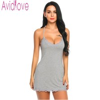 Avidlove Nightgown Women Lace Nightwear Backless Sleepwear Sexy V Neck Nightgowns Sleeveless Nightdress Lady Home Clothes