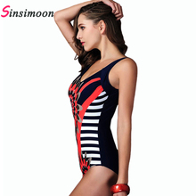 Retro Vintage Swimsuit Women Sexy One Piece Swimwear Striped Beachwear Floral Print Bathing suit Bodysuit Monokini