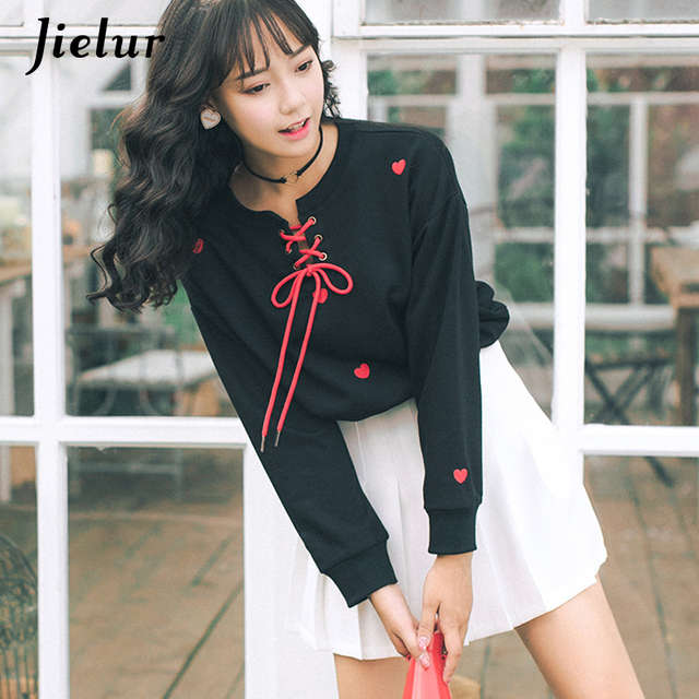 Jielur Young Lace-up Embroidery Love Female Sweatshirts Japanese S-L Thin Women Tops White Kawaii Korean Fashion Ladies Hoodies