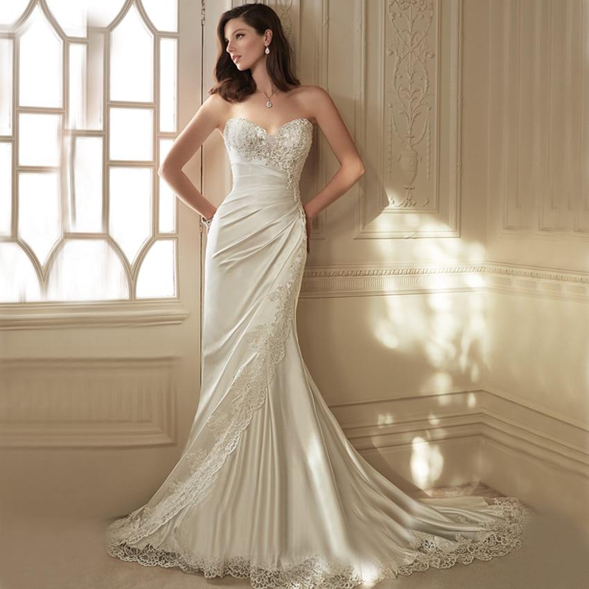 Satin Mermaid Wedding Gown: FW1036 Elegant Satin Mermaid Wedding Dresses Ivory Modest