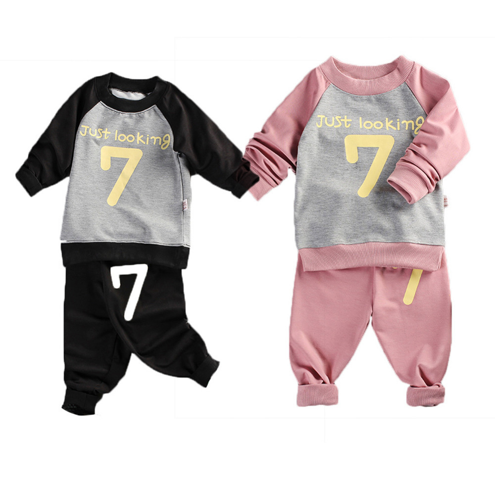 2PCS New Baby Long-sleeved Sweats Set Children Sweatsuit Outfits Number Pattern Style Toddler Sweater for Boys and Girls Kids