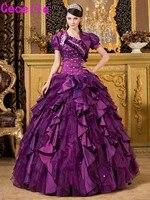紫夜会服quinceaneraのドレス2017付きジャケットヴィンテージフリルタフタオーガンジー女の子ウエディングパーティードレス