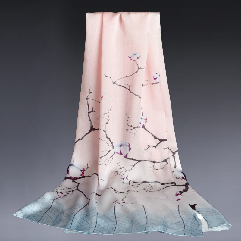 100% Silk Women   Scarf   Shawl Digital Print Vintage   Scarves   Ladies Silk Satin Neck   Scarf     Wraps   53*170cm