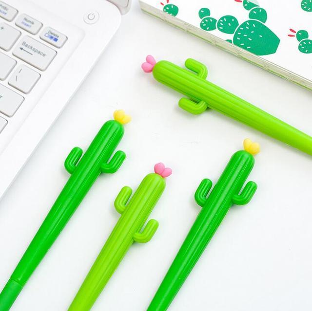 Cactus verde Con Flor de Tinta Gel Pluma Promocional Papelería Regalos Útiles Escolares y de Oficina