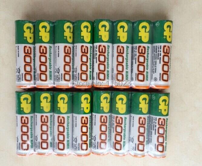 Brand New 2016 0riginal 12pcs/Lot GP 1.2V NiMh AA 3000 mAh Battery Rechargeable AA Batteries pilas recargables free shipping