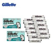 GILLETTE Супер Синий бритья Бритвы лезвия для Для мужчин Нержавеющаясталь Double Edge лезвия бритвы (5 лезвий х 2 коробки)