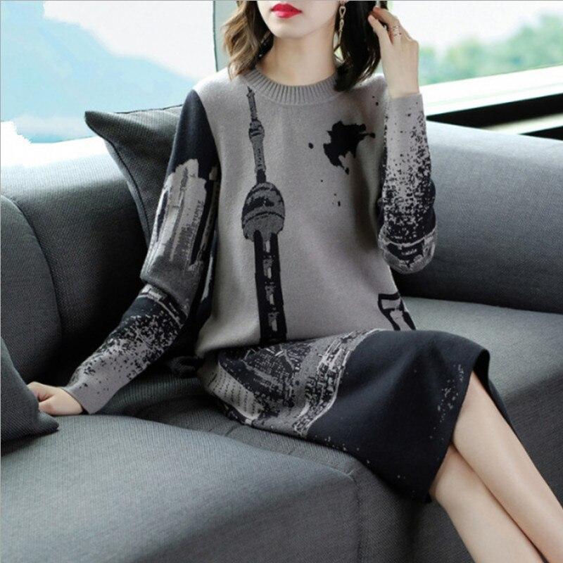 2019 neue Frauen Pullover Kleid Vintage Oansatz Langarm Stricken Kleid Weibliche M L XL XXL Hohe Qualität