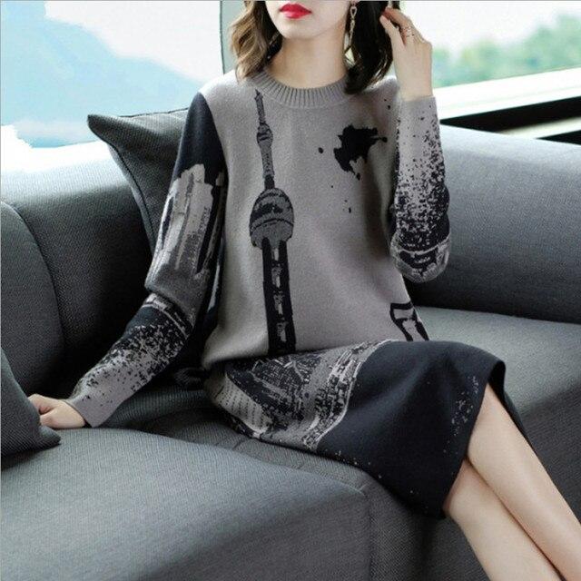 Vestido tejido de manga larga para mujer, Jersey Vintage, cuello redondo, M, L, XL, XXL, alta calidad, novedad de 2019