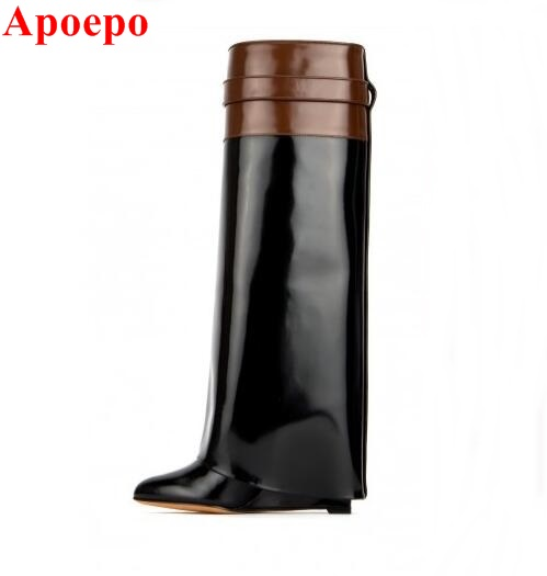 Brown Leather Turned-over Edge Boots For Women Metal Shark Lock Wedge Over The Knee Boots Horse Strap Buckle Winter Long Boots r l sterup over the edge