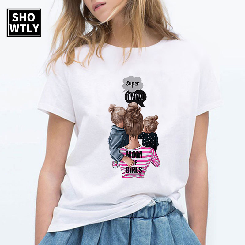 Showtly Super Mama Mother's Love New T Shirt Female Oversized Women T-shirt  Korean Fashion Clothing Streetwear Vogue T-shirts