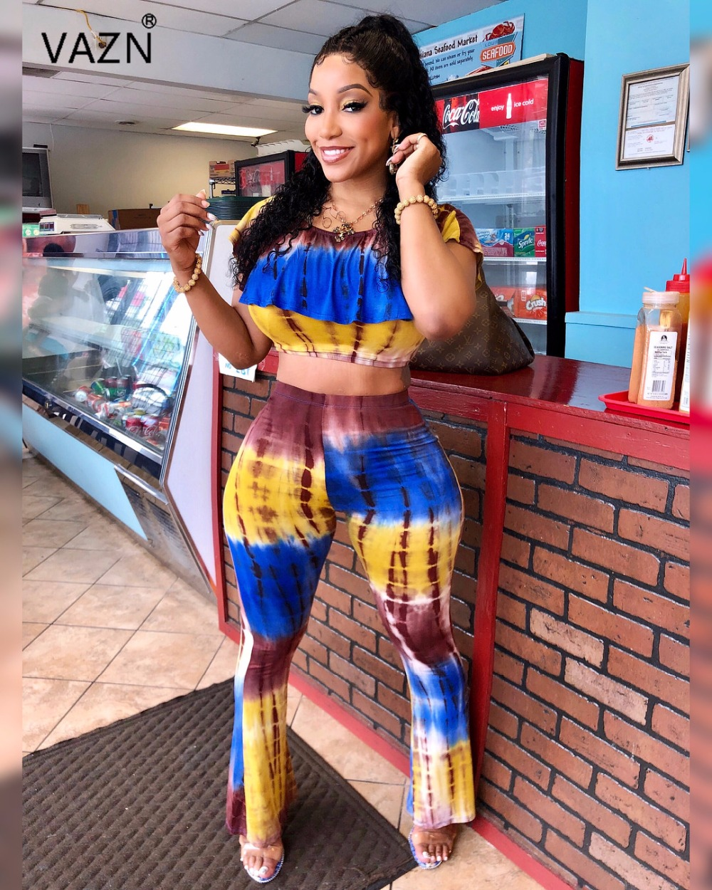 VAZN 2018 hot summer 2-pieces print long jumpsuits women short sleeve o-neck jumpsuits ladies hollow out jumpsuits LS6136