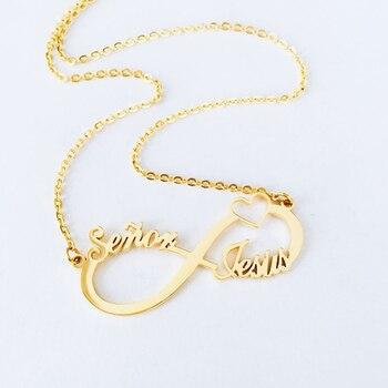 1311ef33463d Personalizada corazón infinito colgante collares de los hombres y las  mujeres de 2 3 4 nombres infinito placa joyería de la Amistad Dropshipping.  exclusivo.